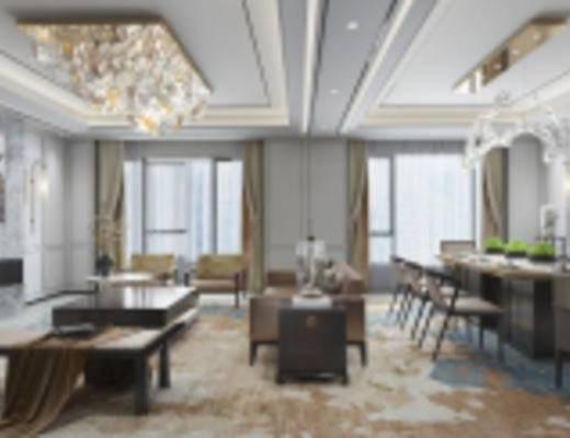 新古典客厅, 沙发茶几组合, 吊灯, 壁画, 壁灯, 花瓶, 边几, 新古典