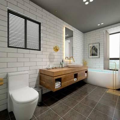 卫生间, 洗手台, 马桶, 浴缸, 壁画, 吊灯, 毛巾, 现代