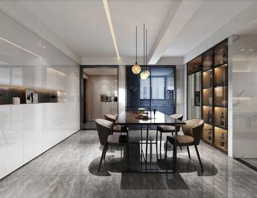 现代餐厅, 桌子, 椅子, 吊灯, 置物柜, 现代