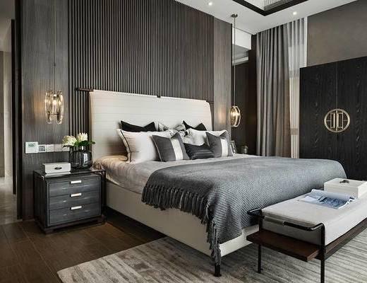 现代卧室, 双人床, 床尾塌, 衣柜, 床头柜, 吊灯, 现代
