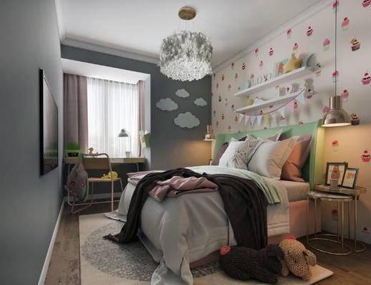 北欧卧室, 双人床, 壁画, 置物架, 边几, 吊灯, 桌子, 椅子, 北欧