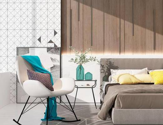 双人床, 椅子, 边几, 现代