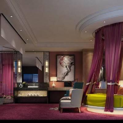 现代卧室, 双人床, 多人沙发, 壁画, 浴缸, 壁灯, 桌子, 椅子, 台灯, 边几, 现代