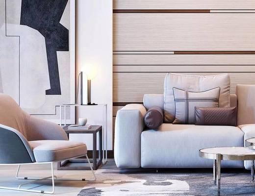 现代简约, 沙发茶几组合, 花瓶摆件, 现代
