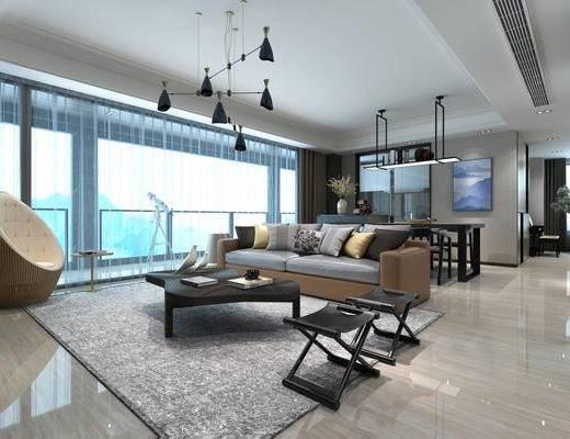 现代简约, 客厅, 沙发茶几组合, 吊灯, 桌椅组合