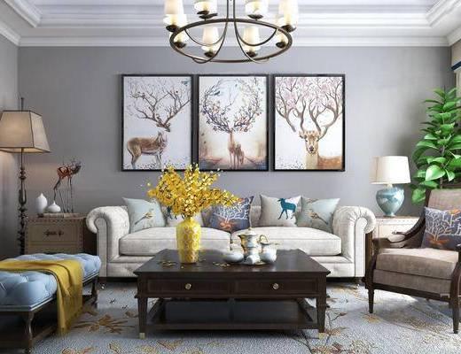 美式简约, 沙发茶几组合, 吊灯, 挂画, 台灯