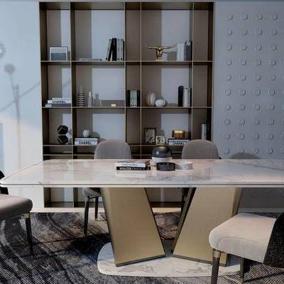 桌椅组合, 桌子, 椅子, 落地灯, 置物柜, 现代