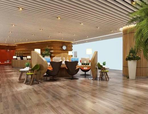 现代办公室, 桌子, 椅子, 边几, 盆栽, 吊灯, 台灯, 现代