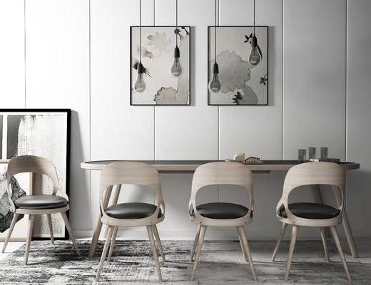 单椅, 桌子, 壁画, 现代