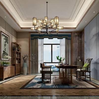 中式书房, 吊灯, 桌子, 椅子, 置物柜, 壁画, 边柜, 花瓶, 地毯, 中式