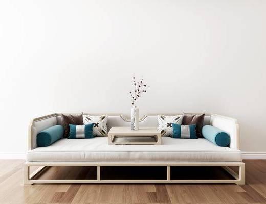 沙发组合, 双人沙发, 花瓶花卉, 新中式