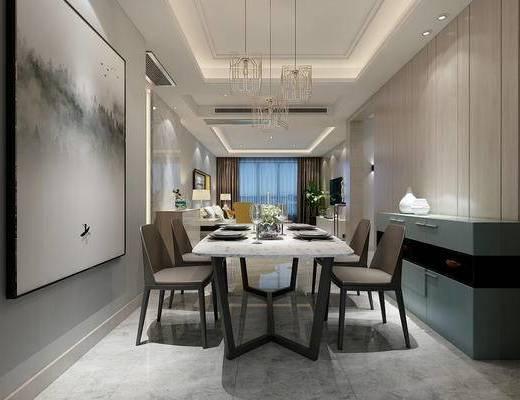 现代, 客厅, 餐厅, 餐桌, 椅子, 吊灯, 挂画, 装饰画, 1000套空间酷赠送模型