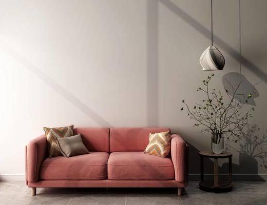 沙发组合, 双人沙发, 盆栽, 现代
