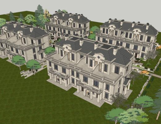 别墅, 外观, 法式, 联排