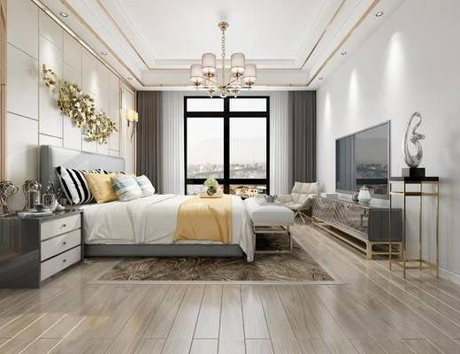 现代卧室, 双人床, 床尾凳, 边柜, 床头柜, 单椅, 现代