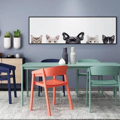 桌椅组合, 桌子, 椅子, 壁画, 边柜, 北欧