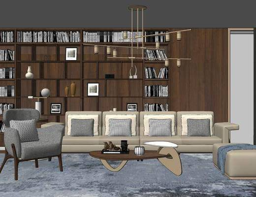 沙发组合, 置物柜, 多人沙发, 单人沙发, 吊灯, 沙发凳, 茶几, 现代