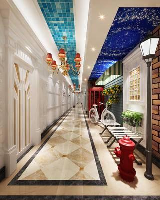 走廊过道, 吊灯, 落地灯, 凳子, 壁画, 美式