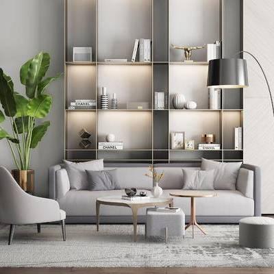 现代沙发组合, 多人沙发, 沙发椅, 盆栽, 落地灯, 置物架, 现代