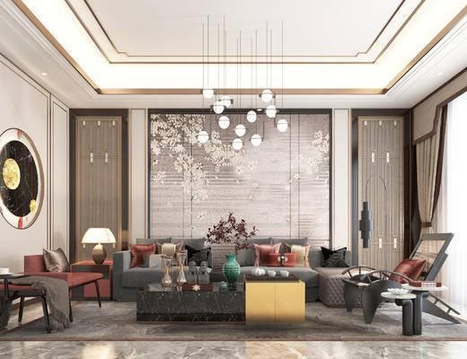 沙发组合, 茶几, 背景墙, 吊灯, 单椅, 边柜, 摆件组合