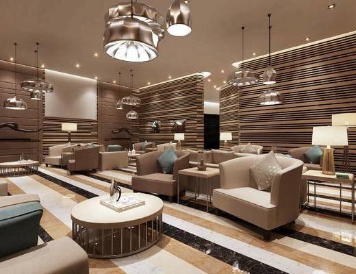会客区, 椅子, 茶几, 吊灯, 边几, 台灯, 单人沙发, 现代