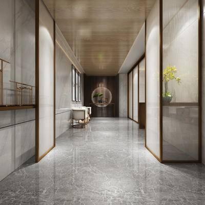 走廊过道, 椅子, 壁画, 边几, 花瓶, 中式