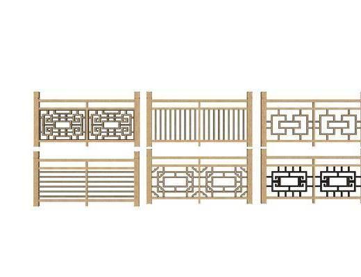 栏杆, 中式, 木质, 楼梯, 护栏