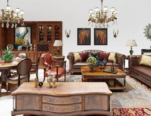 多人沙发, 柜子, 餐桌, 吊灯, 台灯, 壁画, 花瓶, 欧式