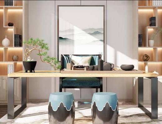 桌椅组合, 桌子, 椅子, 置物柜, 凳子, 新中式