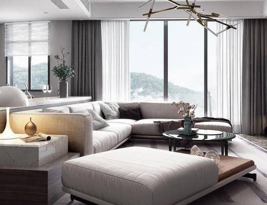 现代客厅, 多人沙发, 茶几, 书架, 沙发凳, 厨具, 现代