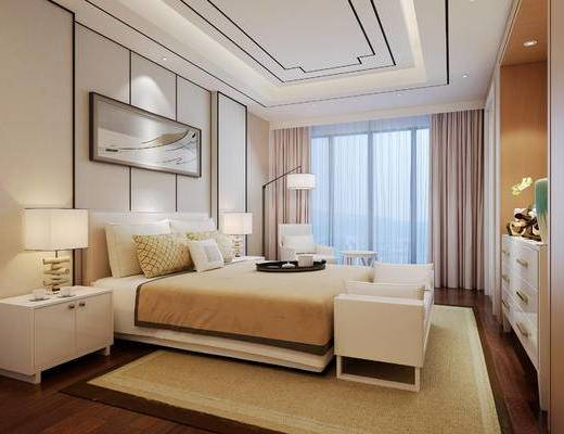 新中式, 卧室, 床, 床头柜, 台灯, 挂画, 装饰画, 落地灯, 装饰柜, 边柜