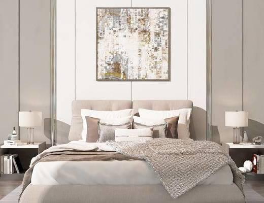 双人床, 床头柜, 台灯, 壁画, 现代