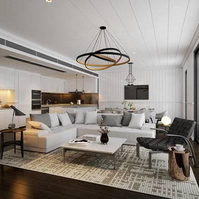 现代, 沙发, 茶几, 客厅, 厨房, 吊灯, 边几, 台灯, 开放式厨房, 摆件, 1000套空间酷赠送模型