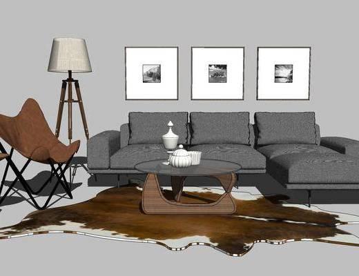 摆件组合, 壁画, 多人沙发, 落地灯, 椅子, 茶几, 现代