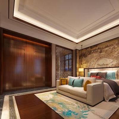 中式客房, 双人床, 床头柜, 吊灯, 壁画, 多人沙发, 中式