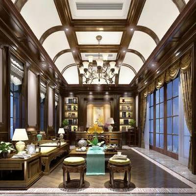 新中式书房, 吊灯, 茶几, 置物柜, 壁画, 新中式沙发, 桌子, 椅子, 台灯, 凳子, 新中式