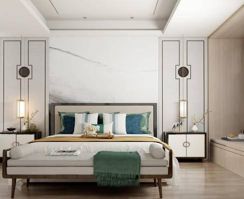 床具组合, 双人床, 床尾塌, 床头柜, 吊灯, 花瓶, 新中式