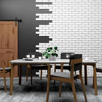 桌椅组合, 桌子, 椅子, 盆栽, 酒杯, 现代
