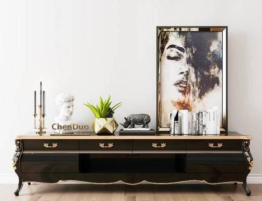 摆件组合, 电视柜, 装饰画, 简欧