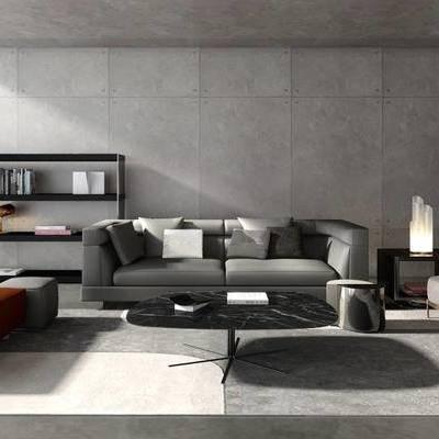 现代简约, 沙发茶几组合, 置物架, 陈设品组合, 现代