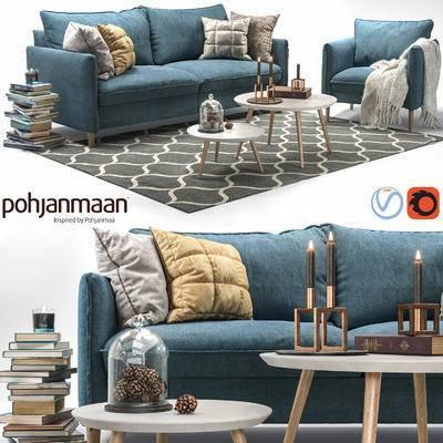 沙发组合, 茶几, 多人沙发, 北欧