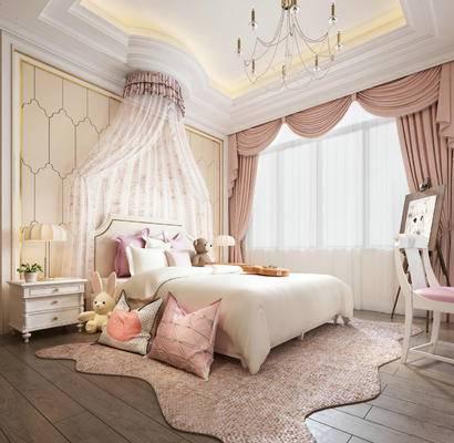 欧式简约, 床具组合, 卧室, 粉红色, 桌椅组合, 台灯