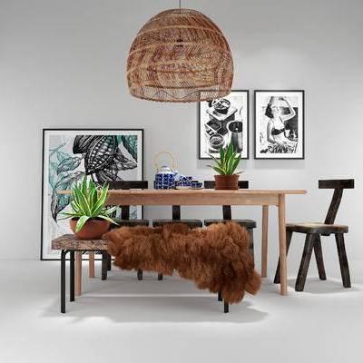 桌椅组合, 桌子, 椅子, 吊灯, 盆栽, 现代