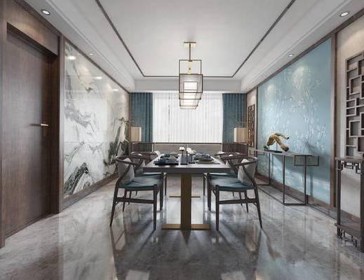 中式餐厅, 双人沙发, 壁画, 吊灯, 桌子, 椅子, 边几, 中式