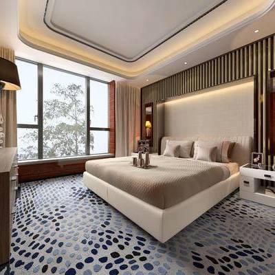 现代卧室, 双人床, 柜子, 台灯, 床头柜, 相框, 现代