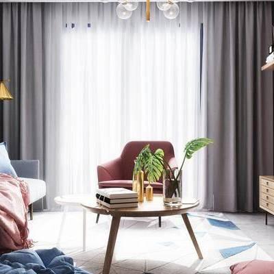 北欧客厅, 茶几, 多人沙发, 吊灯, 边柜, 置物架, 壁画, 落地灯, 椅子, 地毯, 北欧