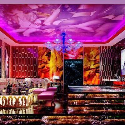 KTV, 茶几, 多人沙发, 壁画, 沙发凳, 边柜, 现代