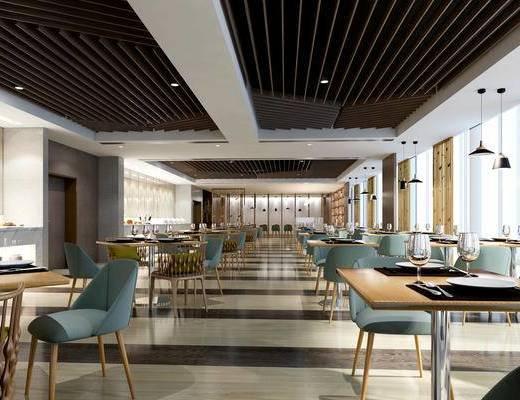 北欧咖啡厅, 桌椅组合, 吊灯, 餐具, 酒杯, 储物柜, 屏风, 北欧