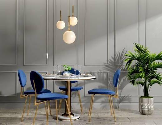 餐椅组合, 吊灯, 盆栽, 北欧