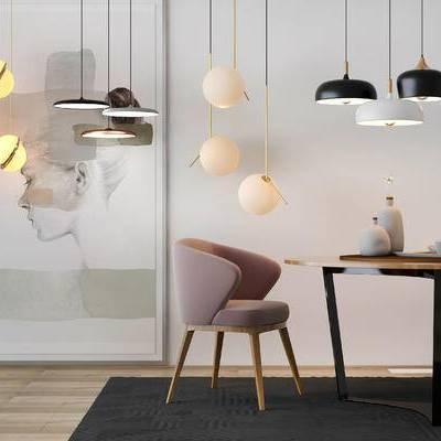 摆件组合, 吊灯, 装饰画, 桌子, 椅子, 地毯, 北欧